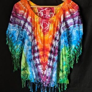 Petite Large Upcycled Rayon Tie Dye Festival Shirt